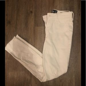 HOLLISTER White Knee-ripped jeans